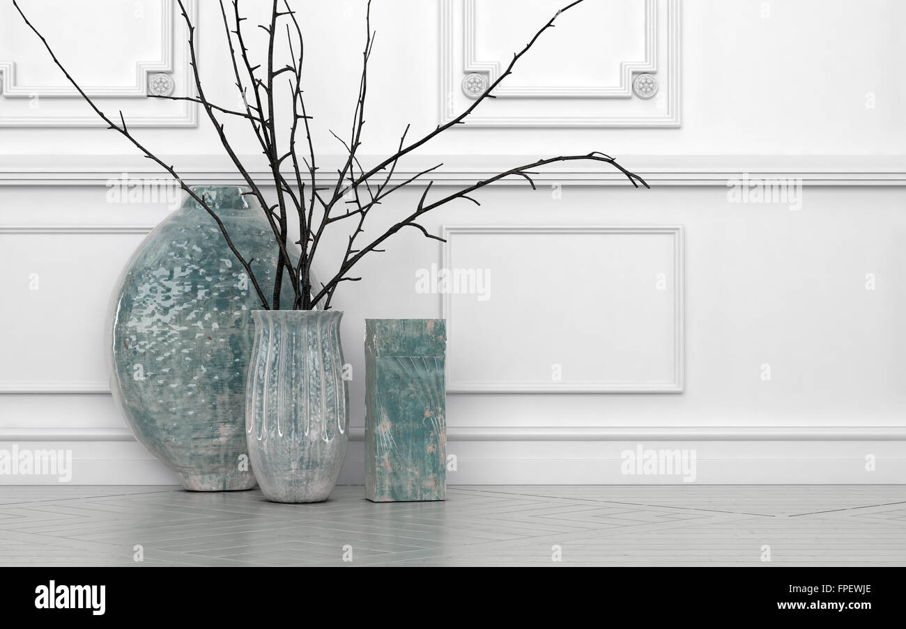 Modern arrangement of twigs in hand crafted ceramic vases of stock modern arrangement of twigs in hand crafted ceramic vases of different shapes standing on the floor against a white paneled wall with copyspace reviewsmspy