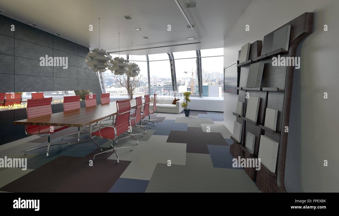 Red conference room chairs - Modern Conference Room In A Company Office With Grey Decor And Red Chairs Along The Long