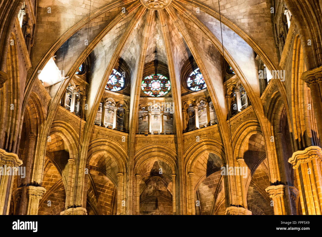 Interior windows architectural - Architectural Detail Of Apse In Interior Of Barcelona Cathedral With Round Stained Glass Windows Barcelona Spain