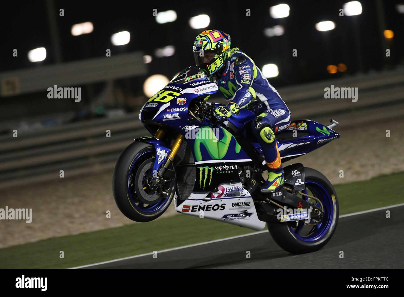 Doha, Qatar. 18th March, 2016. Valentino Rossi of Italy and Yamaha Stock Photo, Royalty Free ...