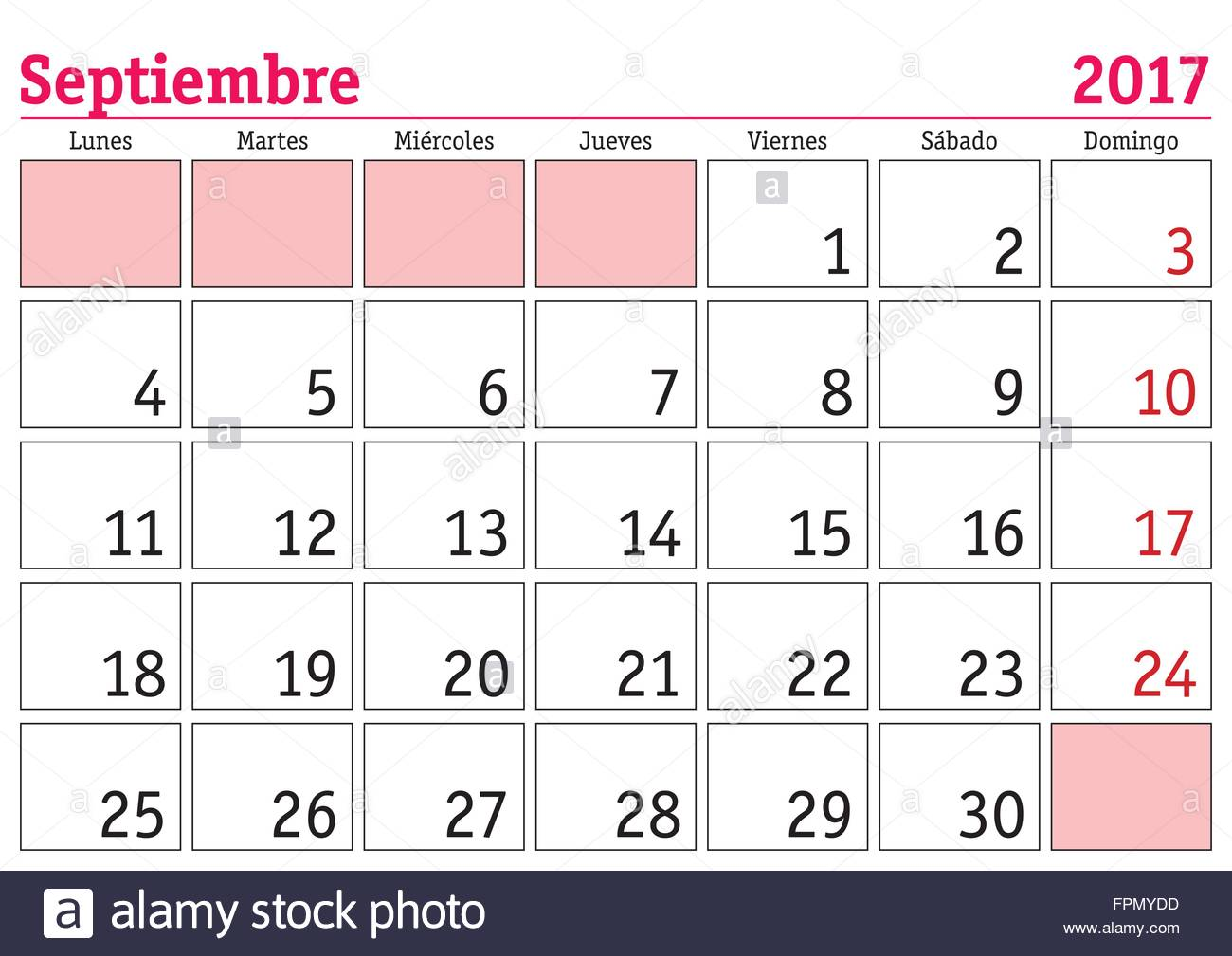 september month in a year 2017 wall calendar in spanish