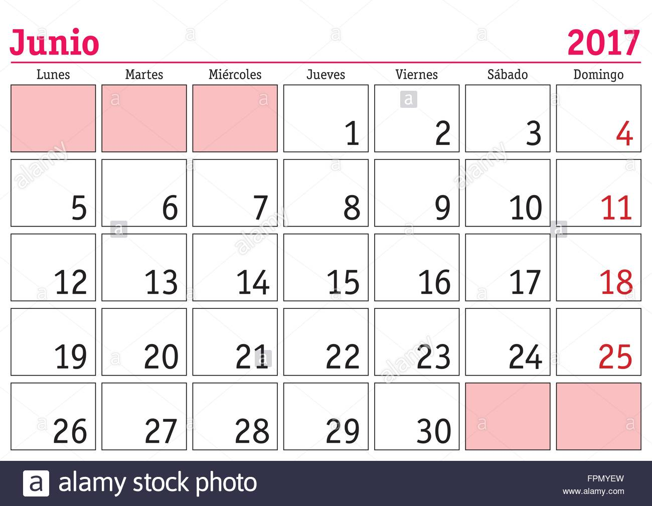 June Calendar In Spanish : June month in a year wall calendar spanish junio
