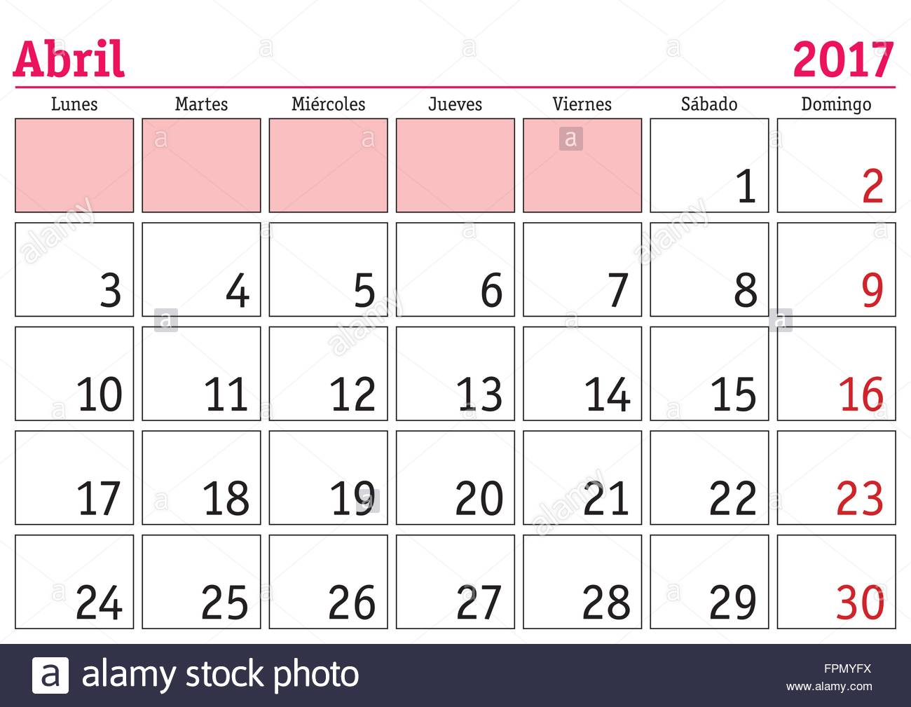 Spanish April Calendar : April month in a year wall calendar spanish abril