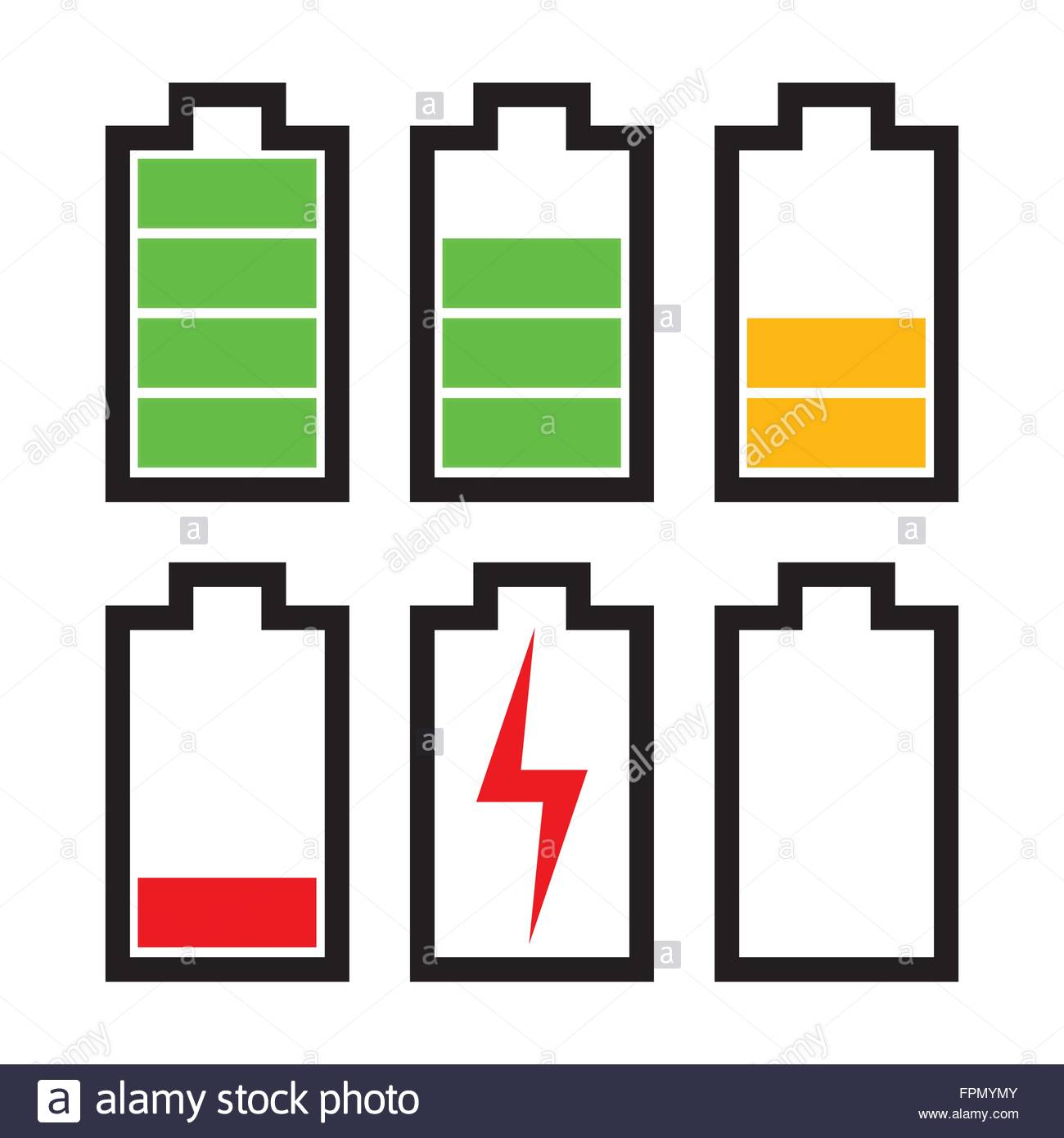 Icons sowing different charge status in an electric battery full icons sowing different charge status in an electric battery full charge medium charge low charge empty out of battery biocorpaavc Images