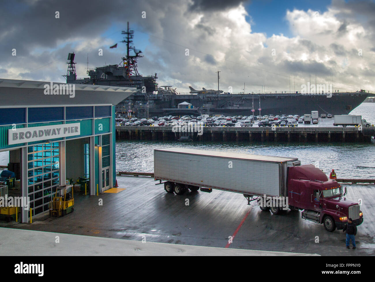 A Loading Dock At A Cruise Ship Terminal With A Semi Truck Full Of - Cruise ship supplies
