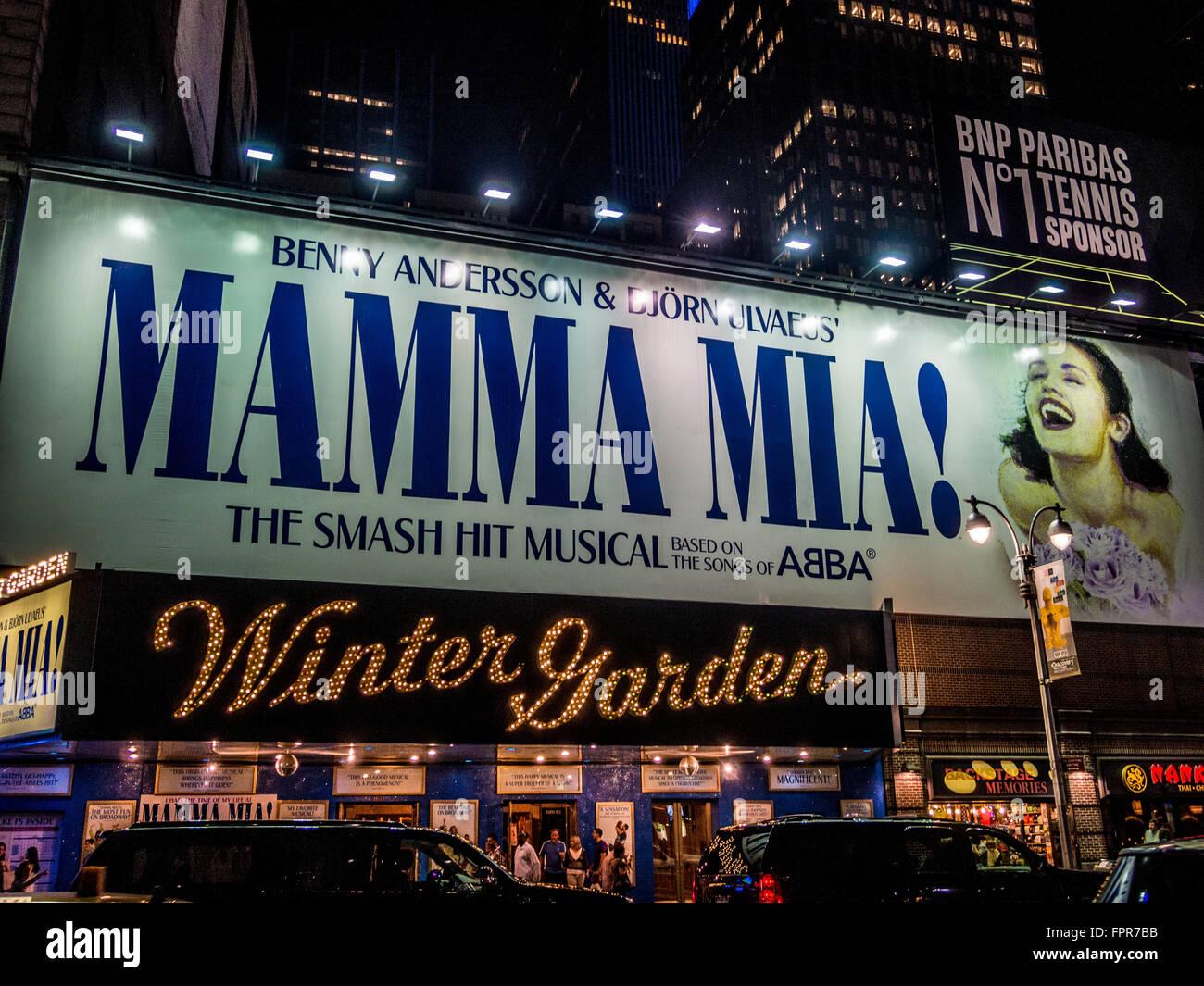 mamma mia sign broadway new york city usa stock photo royalty