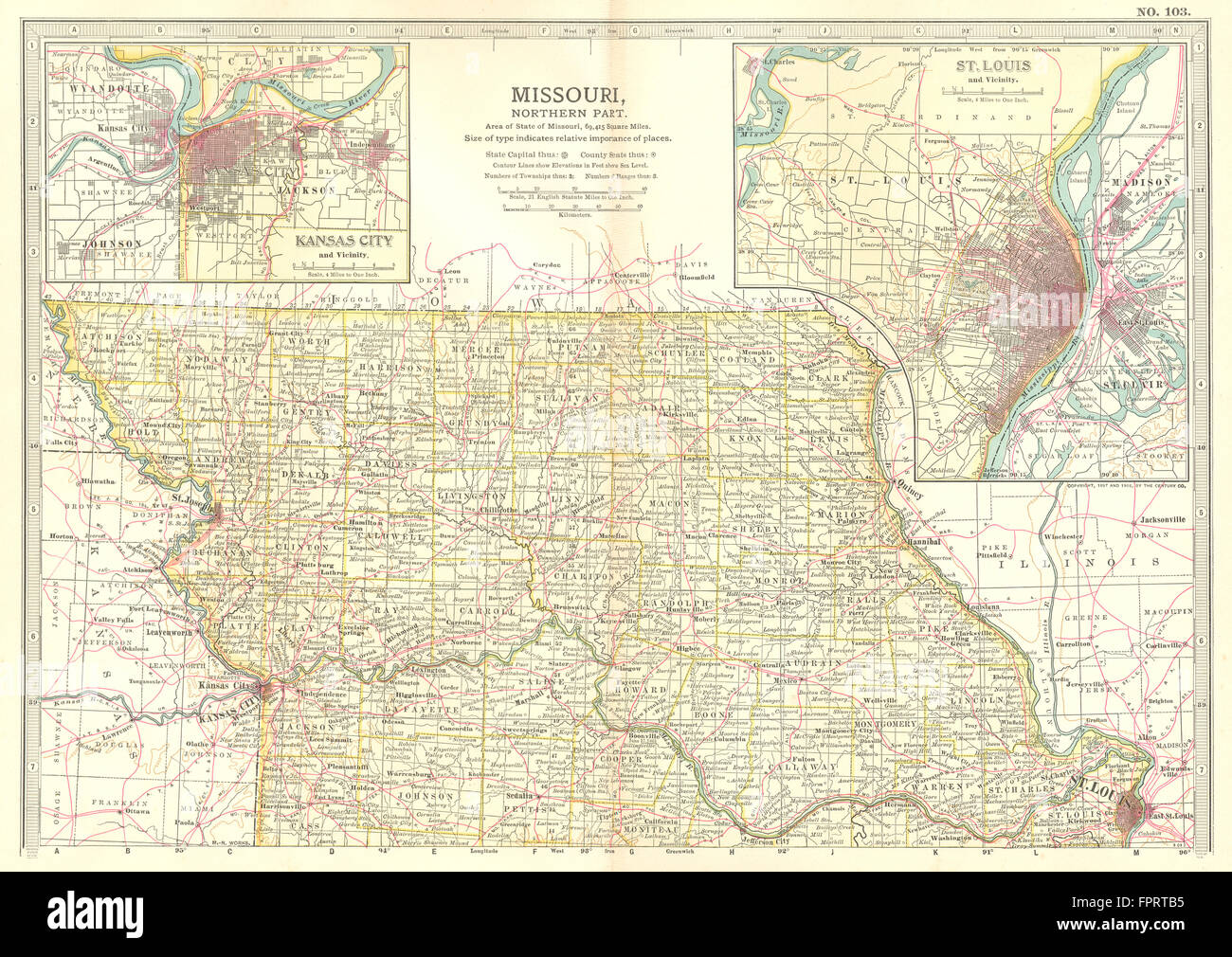 MISSOURI NORTH State Map Showing Counties Inset Kansas City St - Map of northern missouri