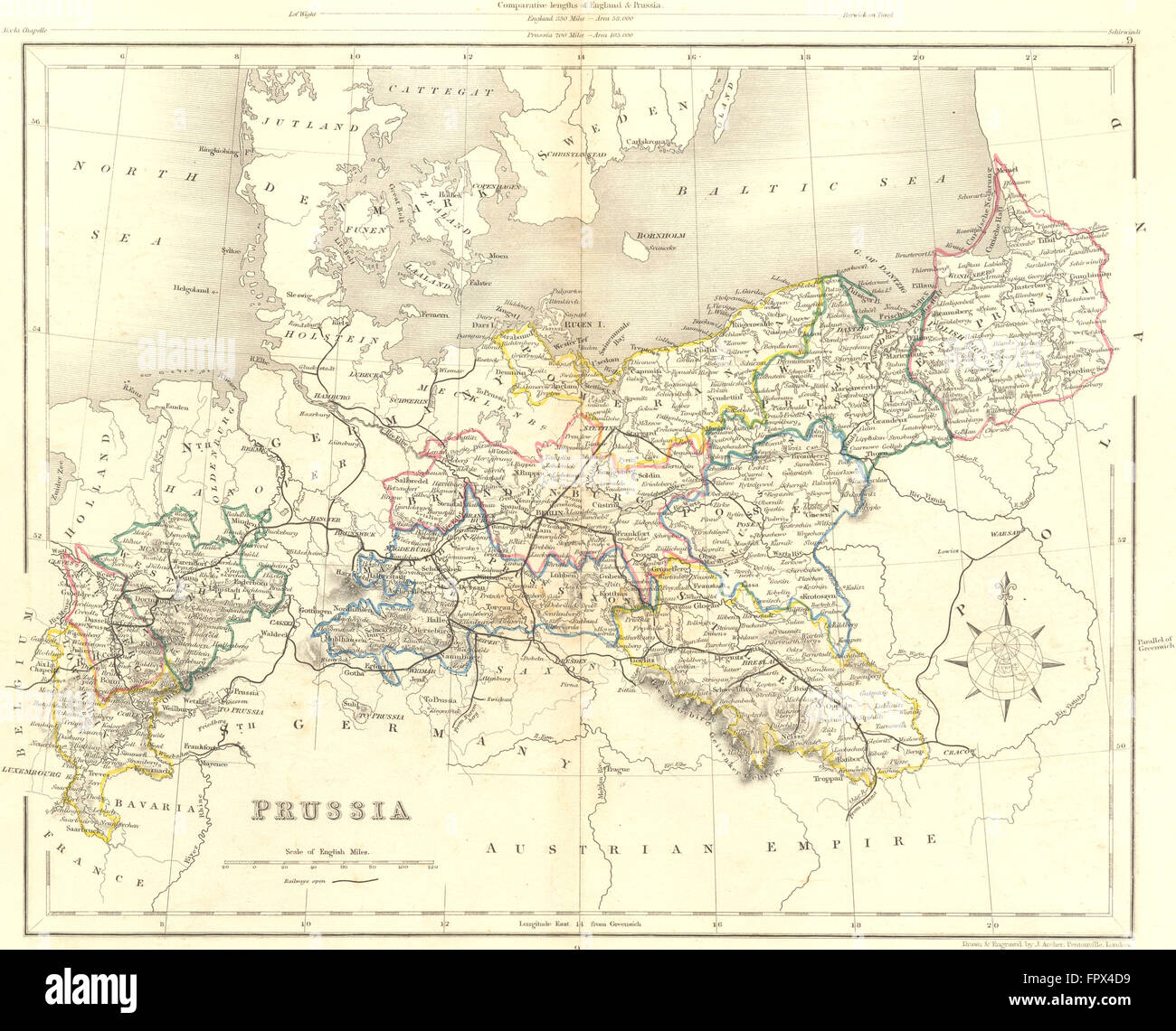 GERMANY Prussia Collins HG Antique Map Stock Photo - Germany map in 1850