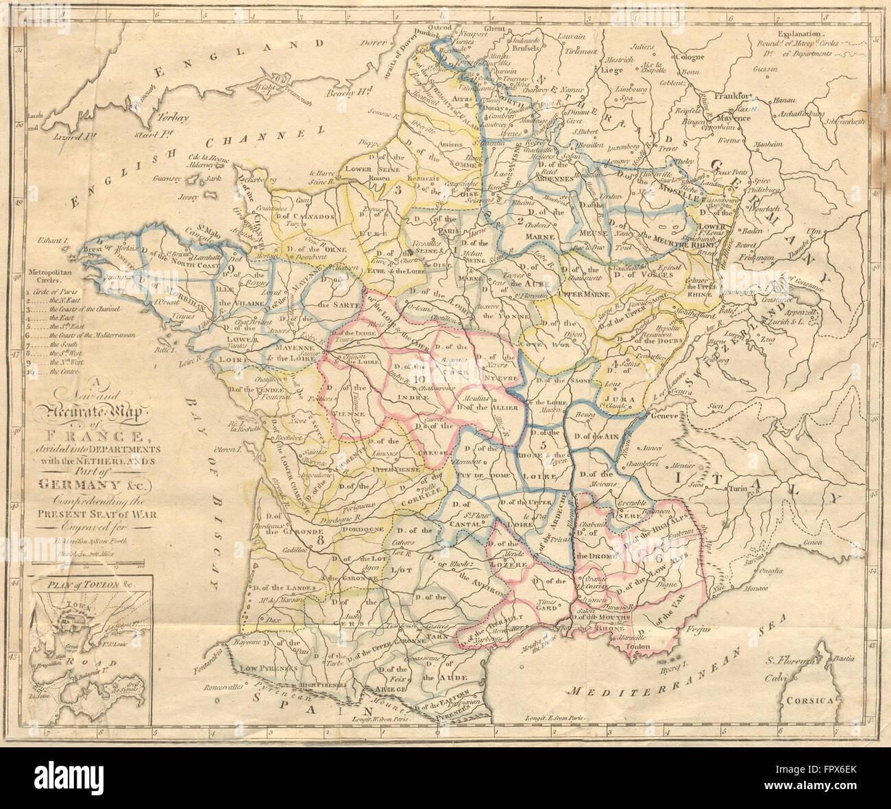 FRANCE Departements Toulon inset AITCHISON 1798 antique map