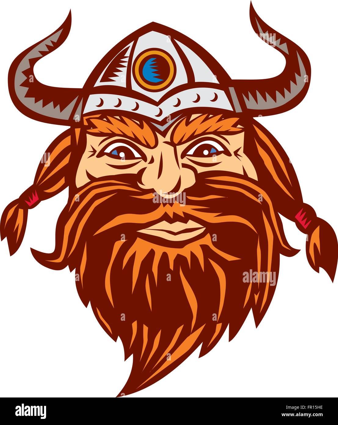 illustration of a head of a norseman viking warrior raider