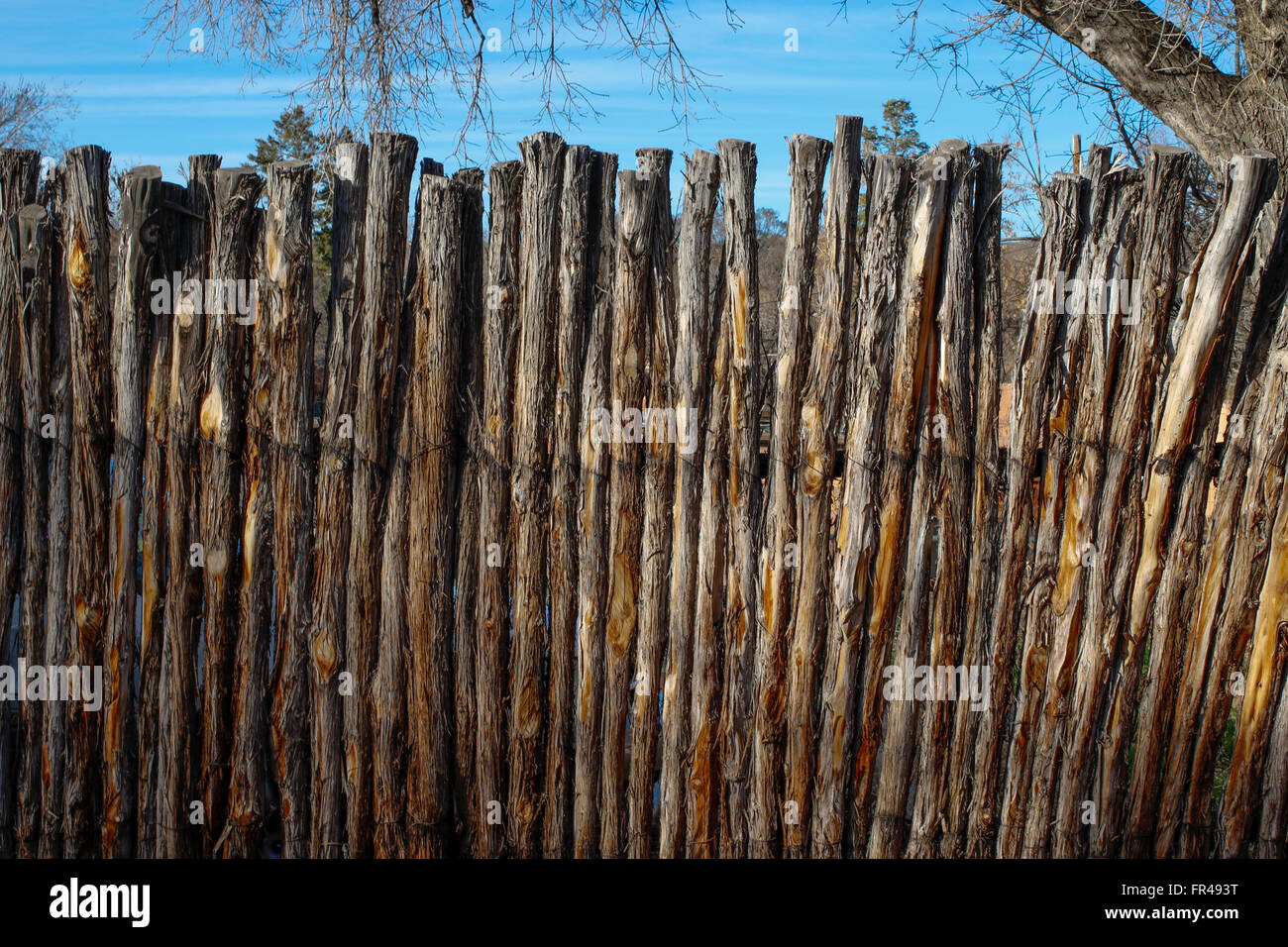 Tree branch fence in santa fe stock photo  alamy