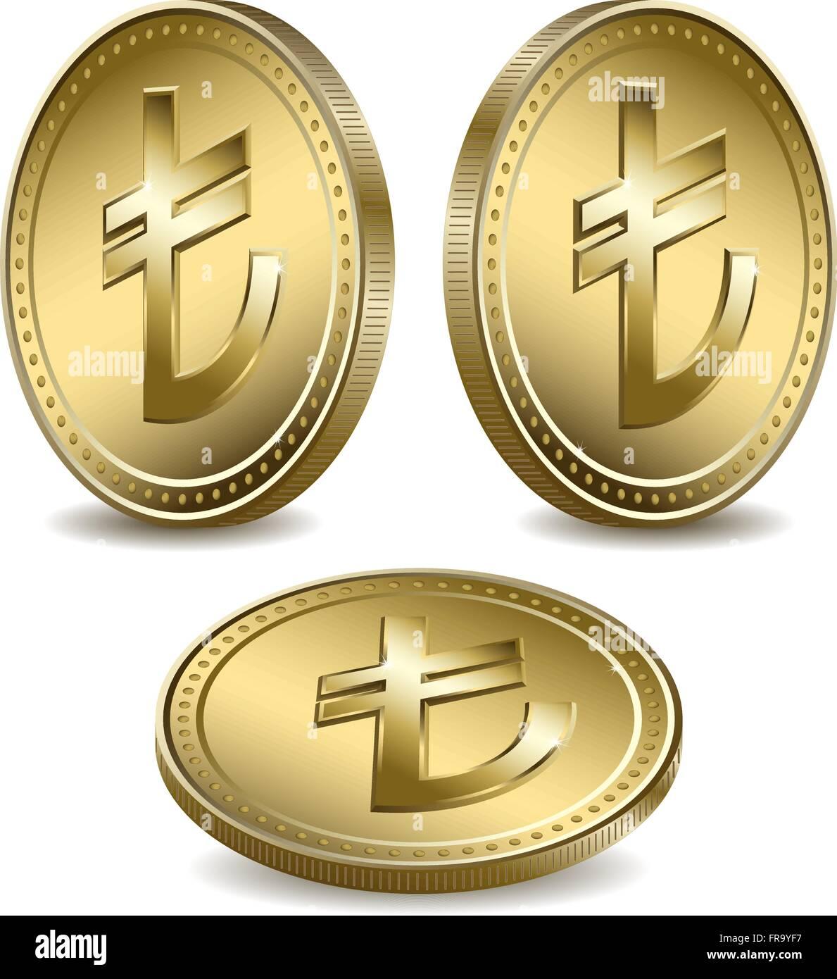 Gold coins with the turkish lira stock vector art illustration gold coins with the turkish lira buycottarizona