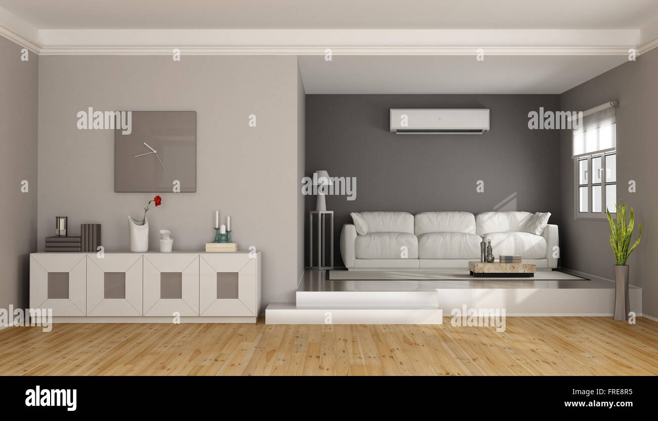 two levels modern living room with sofa , sideboard and air stock