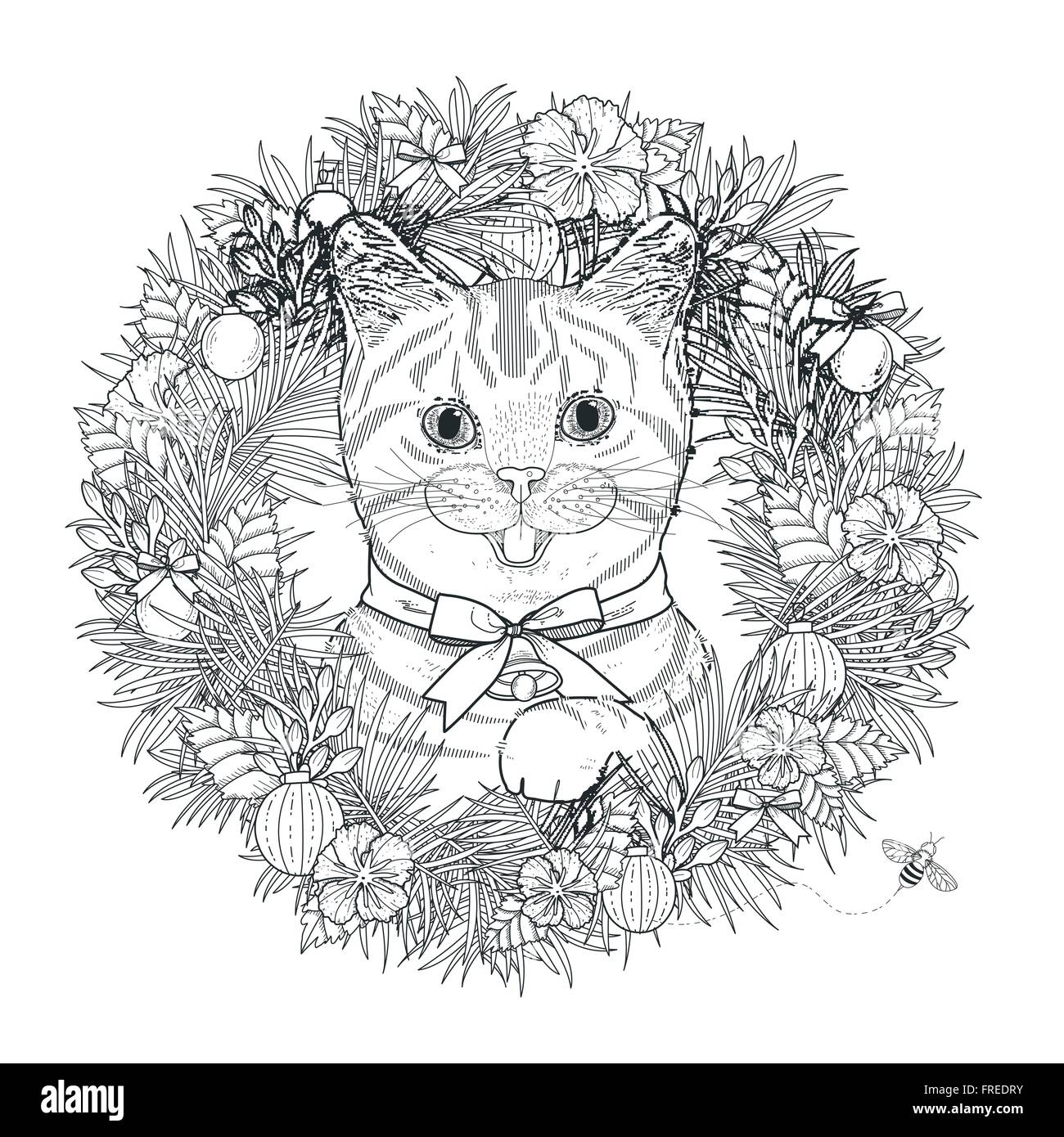 Adorable Kitty Coloring Page In Exquisite Style Stock Vector Art