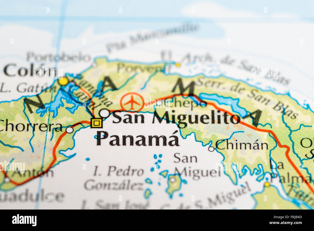 Close up of a map of Panama Central America Stock Photo Royalty