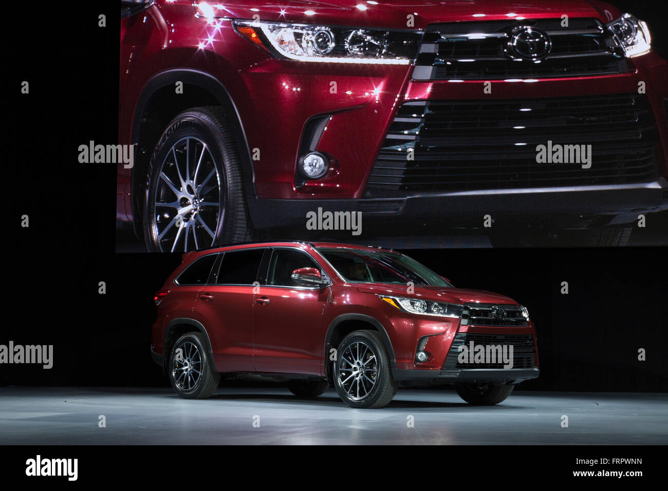 new york usa 23rd march 2016 unveiling toyota suv highlander 2017 stock photo royalty free. Black Bedroom Furniture Sets. Home Design Ideas