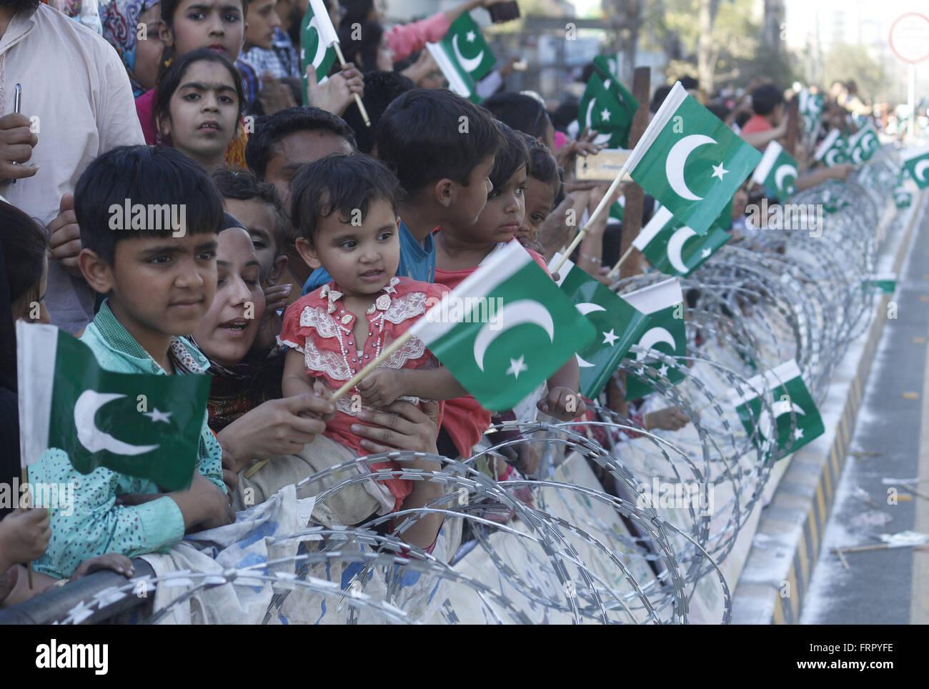 Lahore, Pakistan 23rd Mar, 2016 Pakistani People Celebrating Pakistan Day  In Lahore Pakistan Celebrates