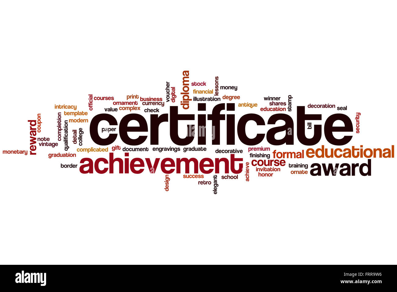 Certificate Word Cloud Concept  Certificate Word
