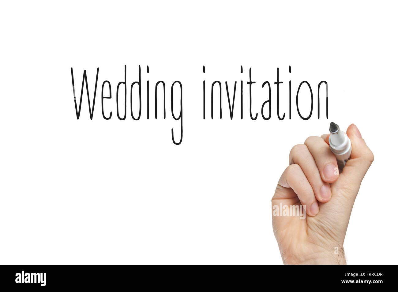 Hand writing wedding invitation on a white board Stock Photo ...