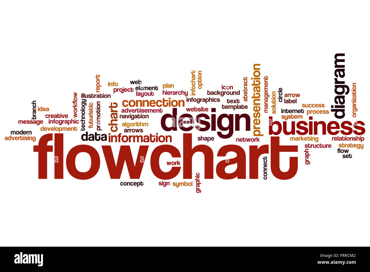 flowchart word cloud concept with diagram information related tags, Powerpoint templates