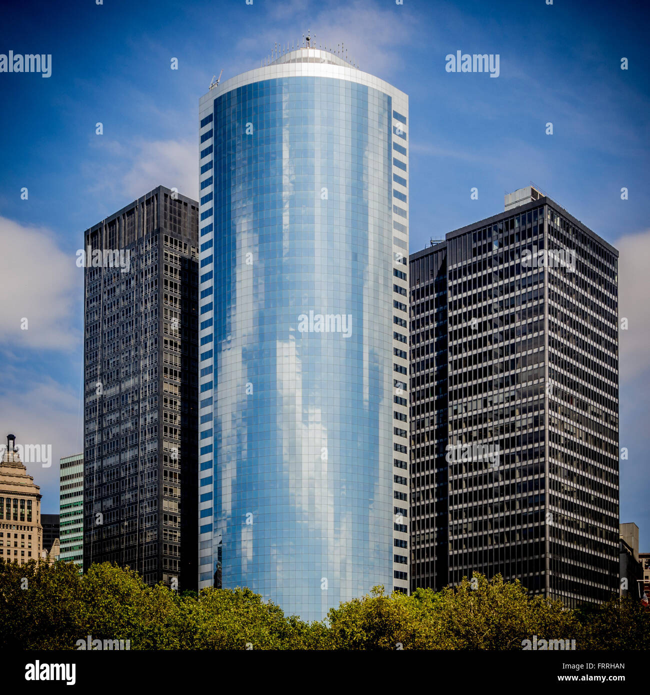 Modern glass and steel buildings in new york city usa for New modern buildings