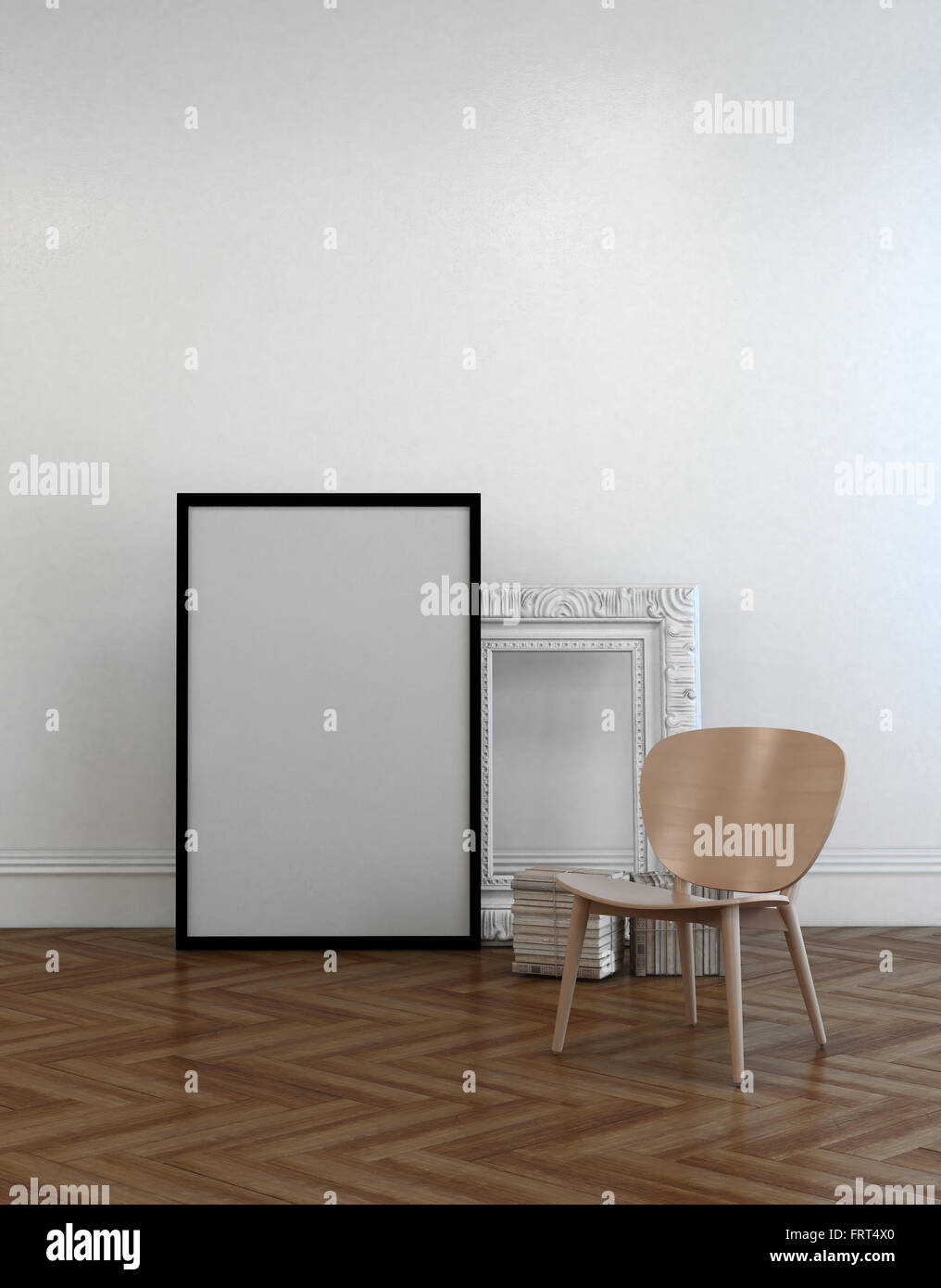 Chair alongside two empty picture frames leaning against a white chair alongside two empty picture frames leaning against a white wall one simple black jeuxipadfo Images