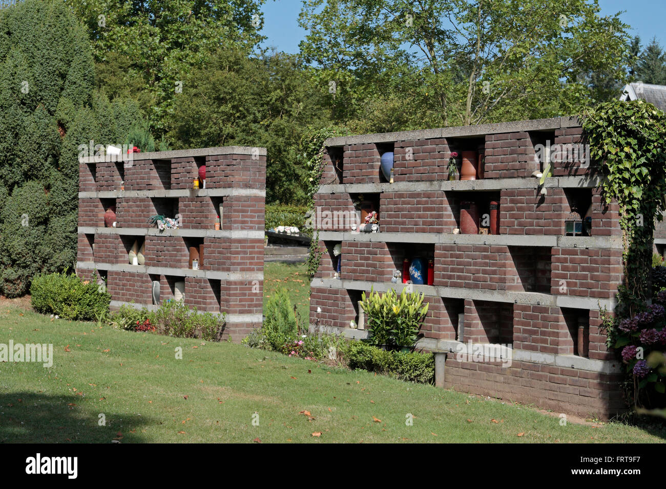 Stock Photo   Walls Displaying Cremated Ash Urns In The Urn Garden, Arnhem  (Moscowa) General Cemetery, Arnhem, Gelderland, Netherlands