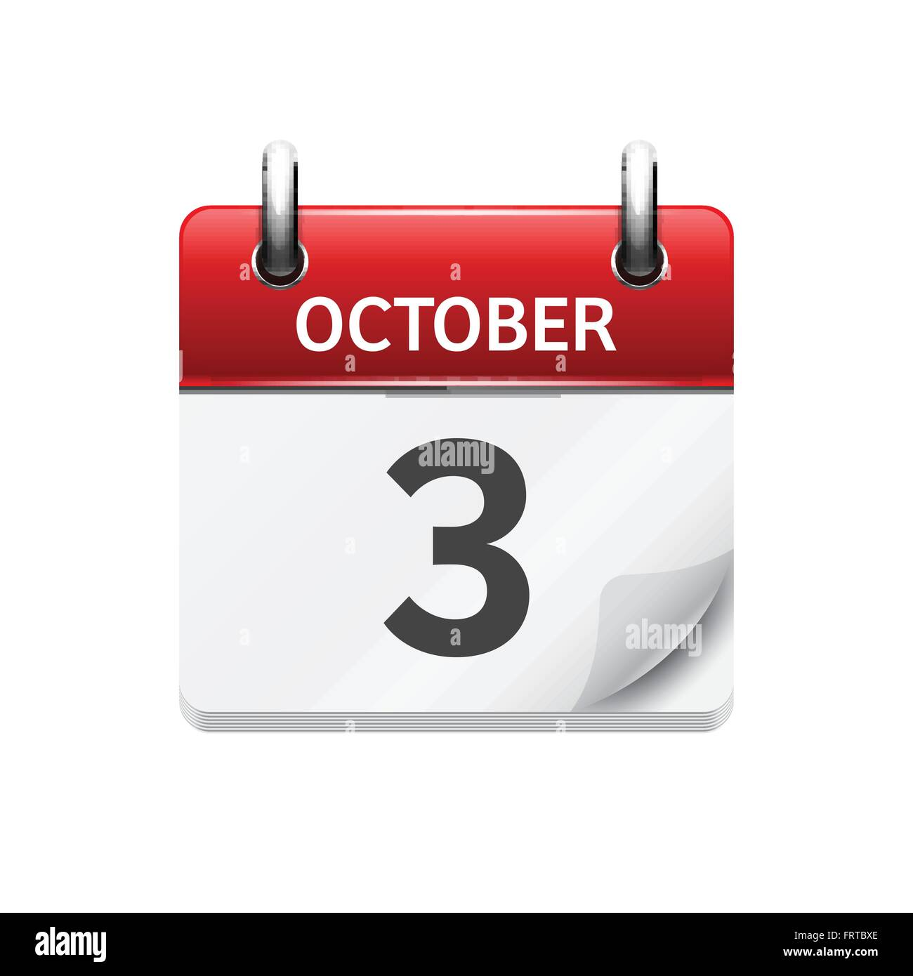 Daily Calendar Icon : October vector flat daily calendar icon date and time