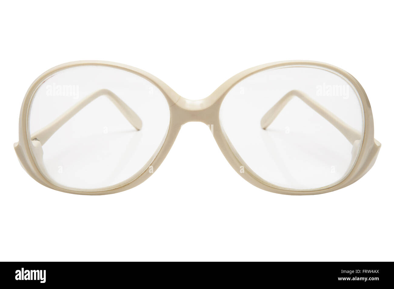Old glasses in a plastic frame on a white background Stock Photo ...