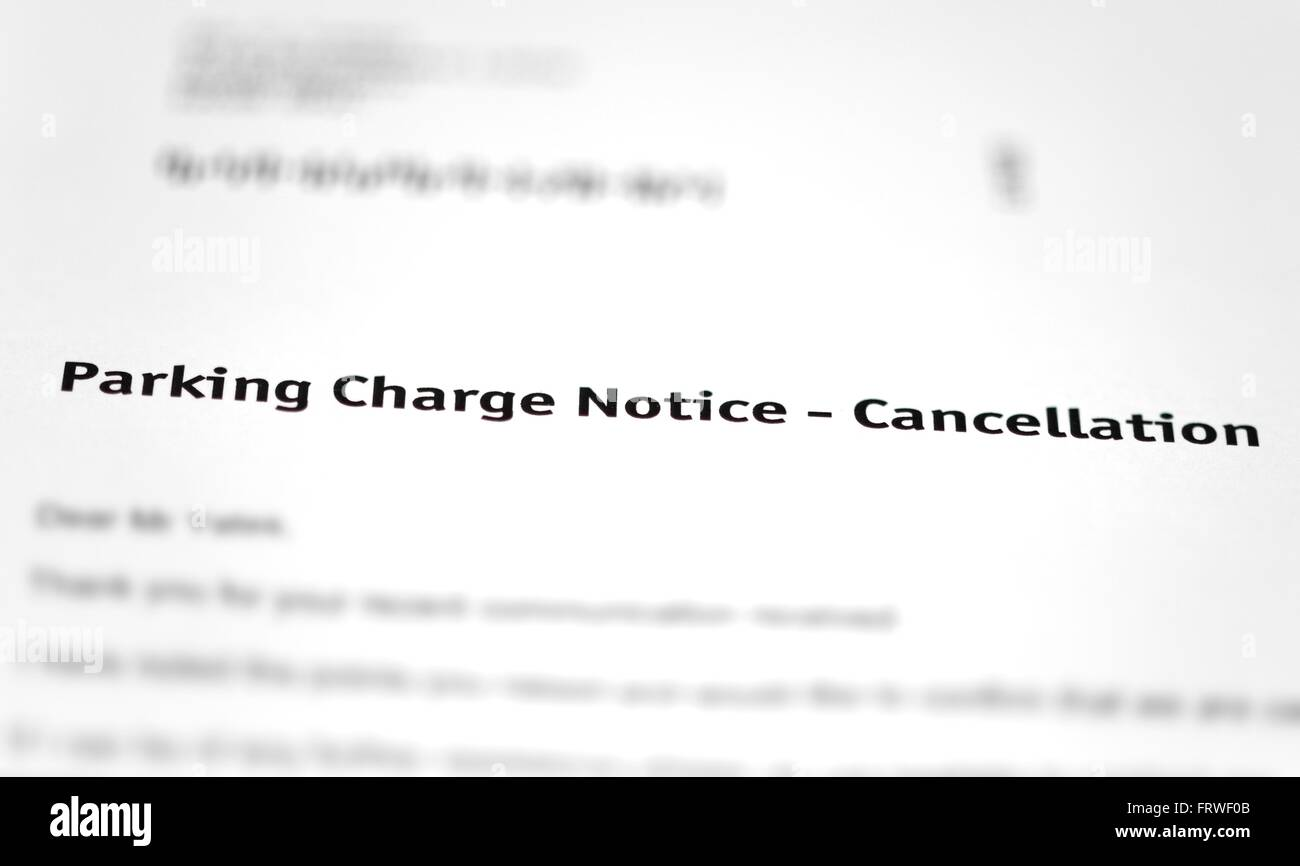 A parking charge notice cancellation letter Photo Royalty – Notice of Cancellation Letter