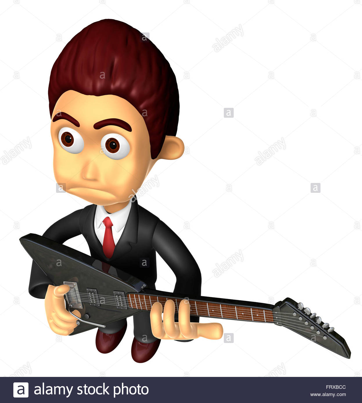 3D Business man Mascot playing the electric guitar. Work and Job ...
