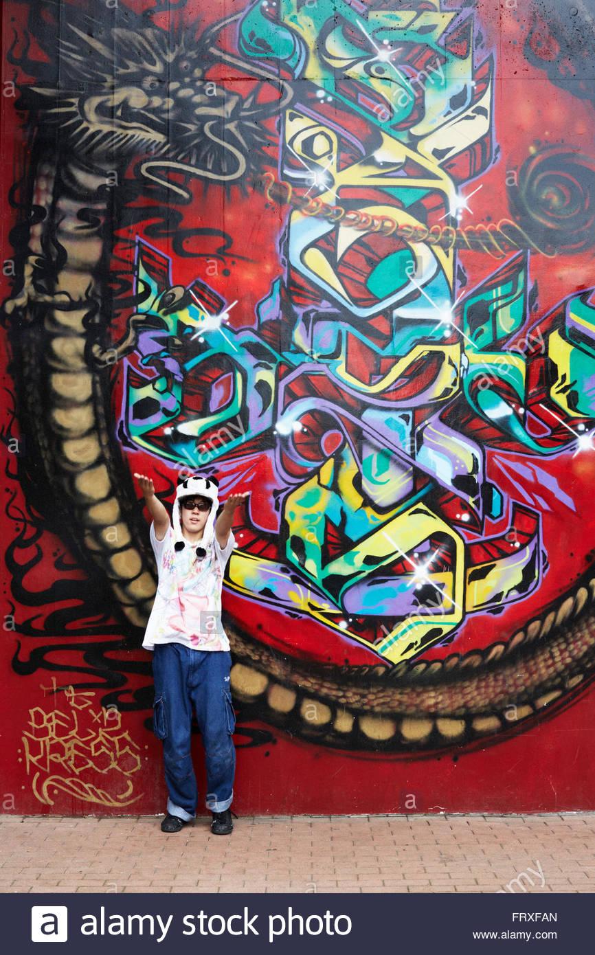 Yokohama graffiti wall - Hip Hop Dancer Performing In Front Of A Graffiti Wall Yoyogi Park Harajuku