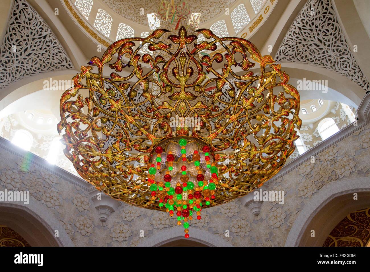 Chandelier inside the Sheikh Zayed Bin Sultan Al Nahyan Grand ...