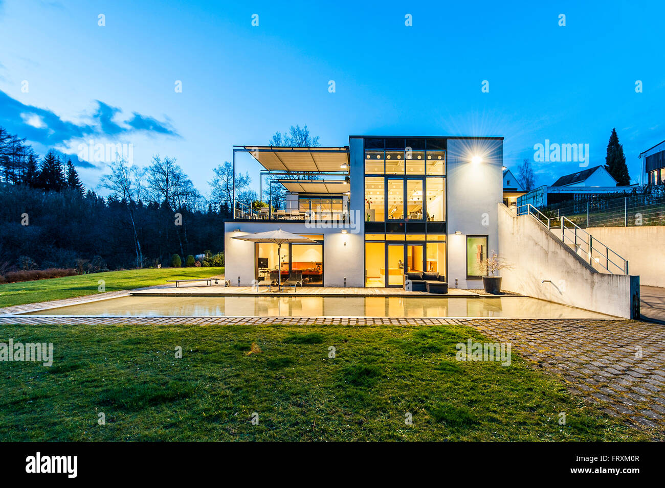bauhaus villa at dusk sauerland germany - Villa Sauerland