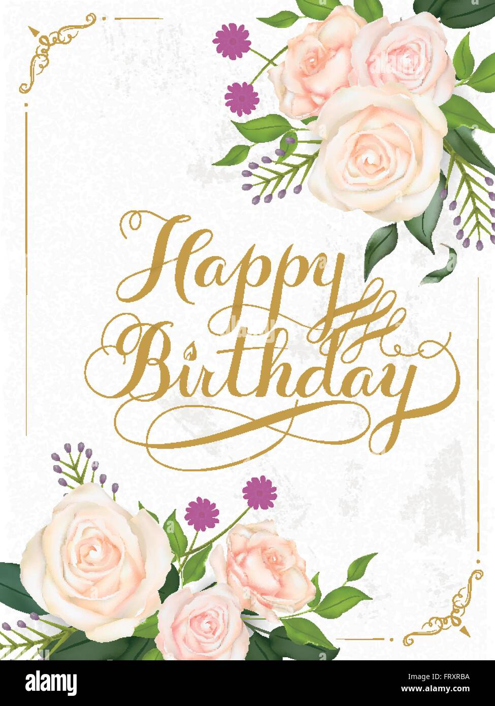Romantic Happy Birthday Calligraphy Design With Floral Elements Frxrba Retro Vintage Typographic