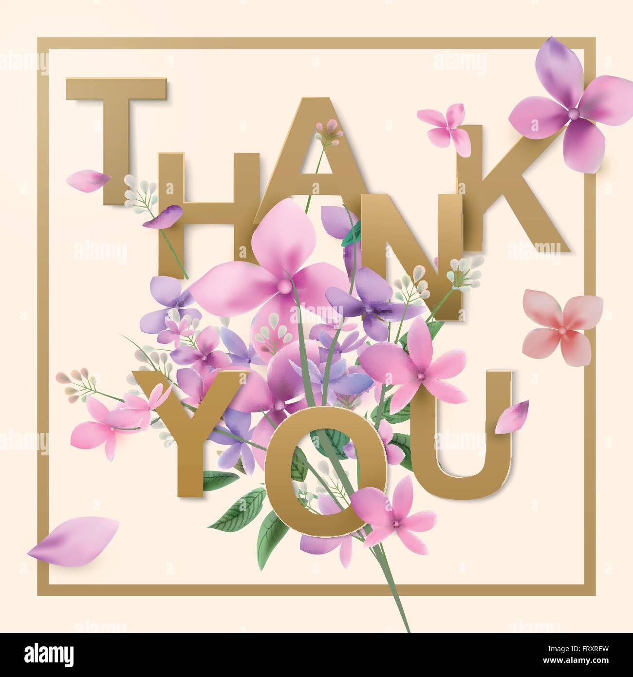 romantic watercolor flowers thank you card design template stock vector art illustration. Black Bedroom Furniture Sets. Home Design Ideas