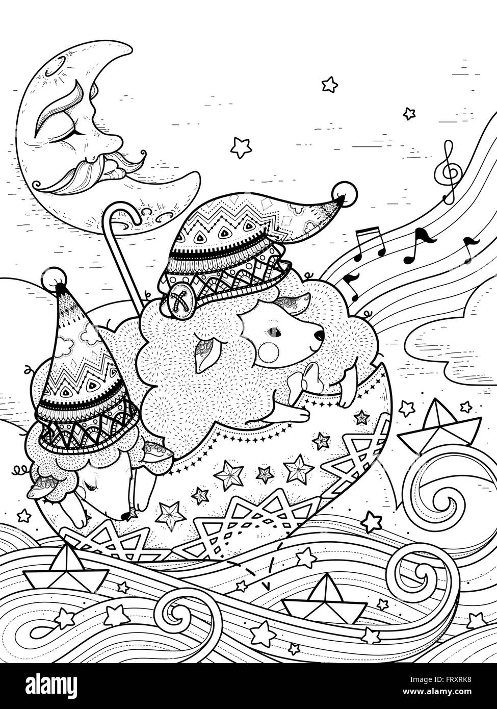 magic sheep float upon starry night adult coloring page