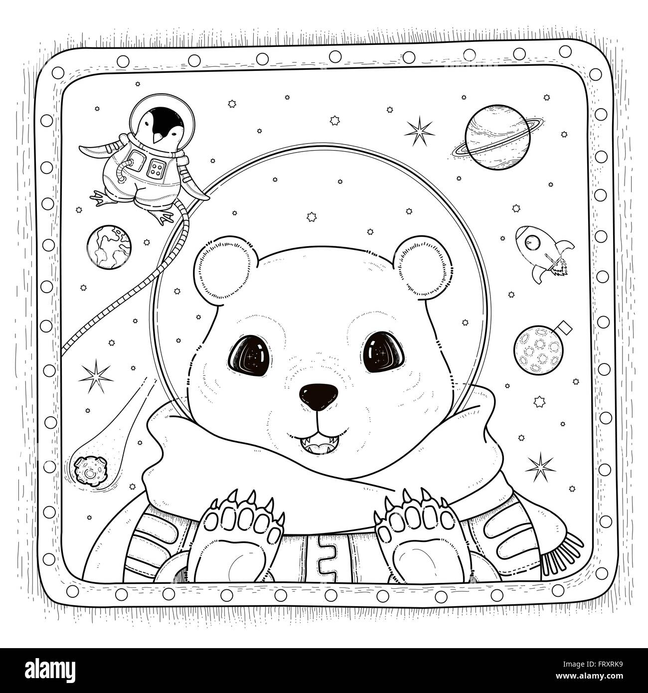 adorable polar bear astronaut coloring page stock vector