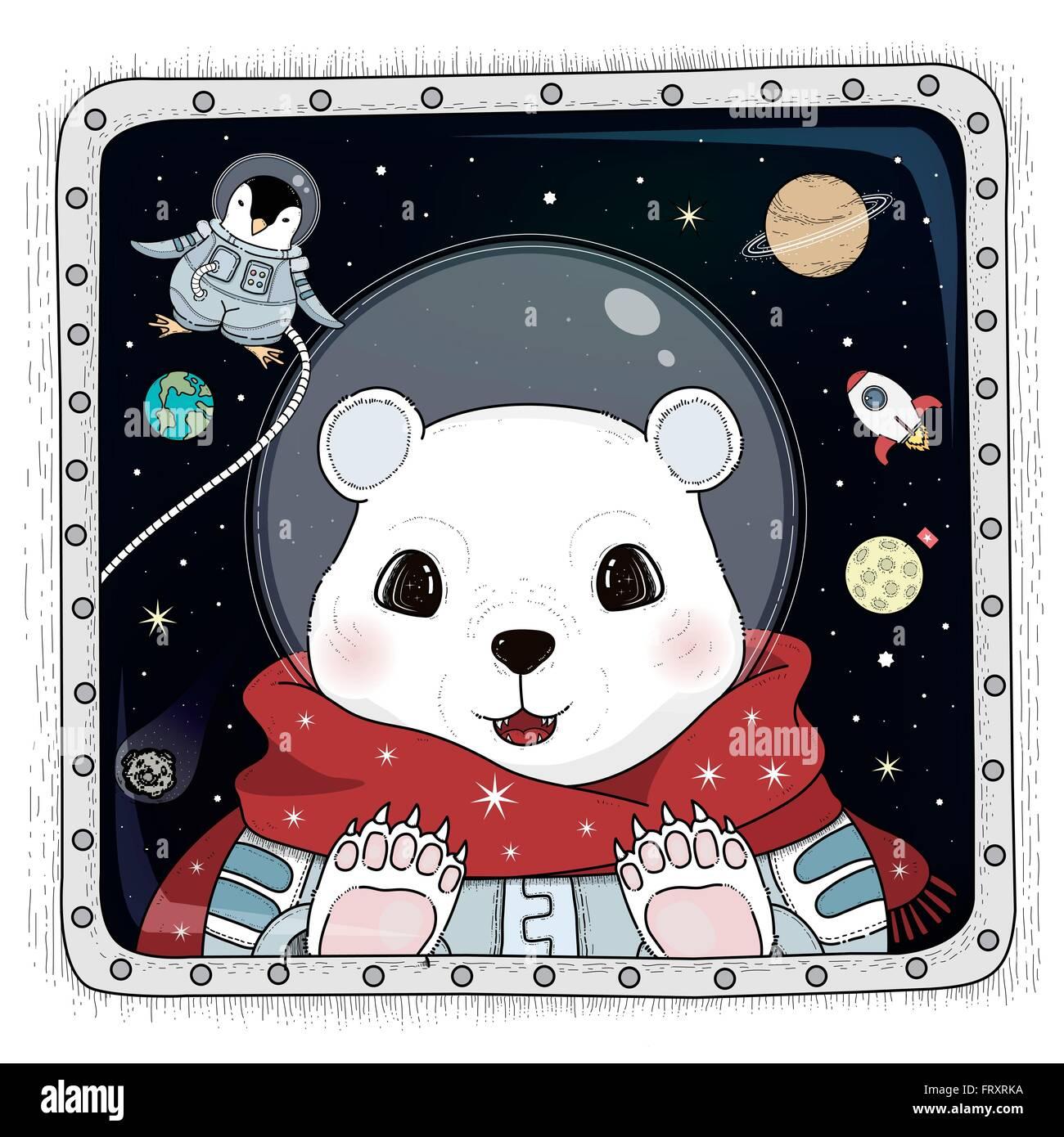 adorable polar bear astronaut coloring page stock vector