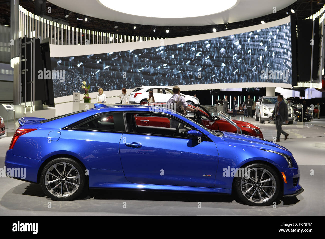 manhattan new york usa 23rd mar 2016 blue cadillac ats v coupe stock photo royalty free. Black Bedroom Furniture Sets. Home Design Ideas
