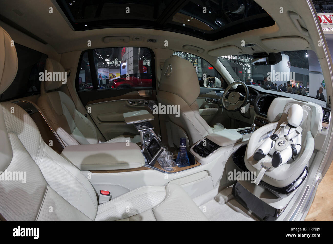 volvo xc90 interior 2016. new york ny usa march 24 2016 interior of volvo xc90 t6 suv on display at international auto show jacob javits center xc90