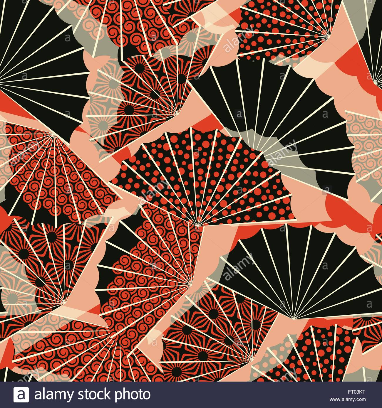 a japanese style fan shape seamless pattern with 3 different stock vector a japanese style fan shape seamless pattern with 3 different decorations in a orange and black palette