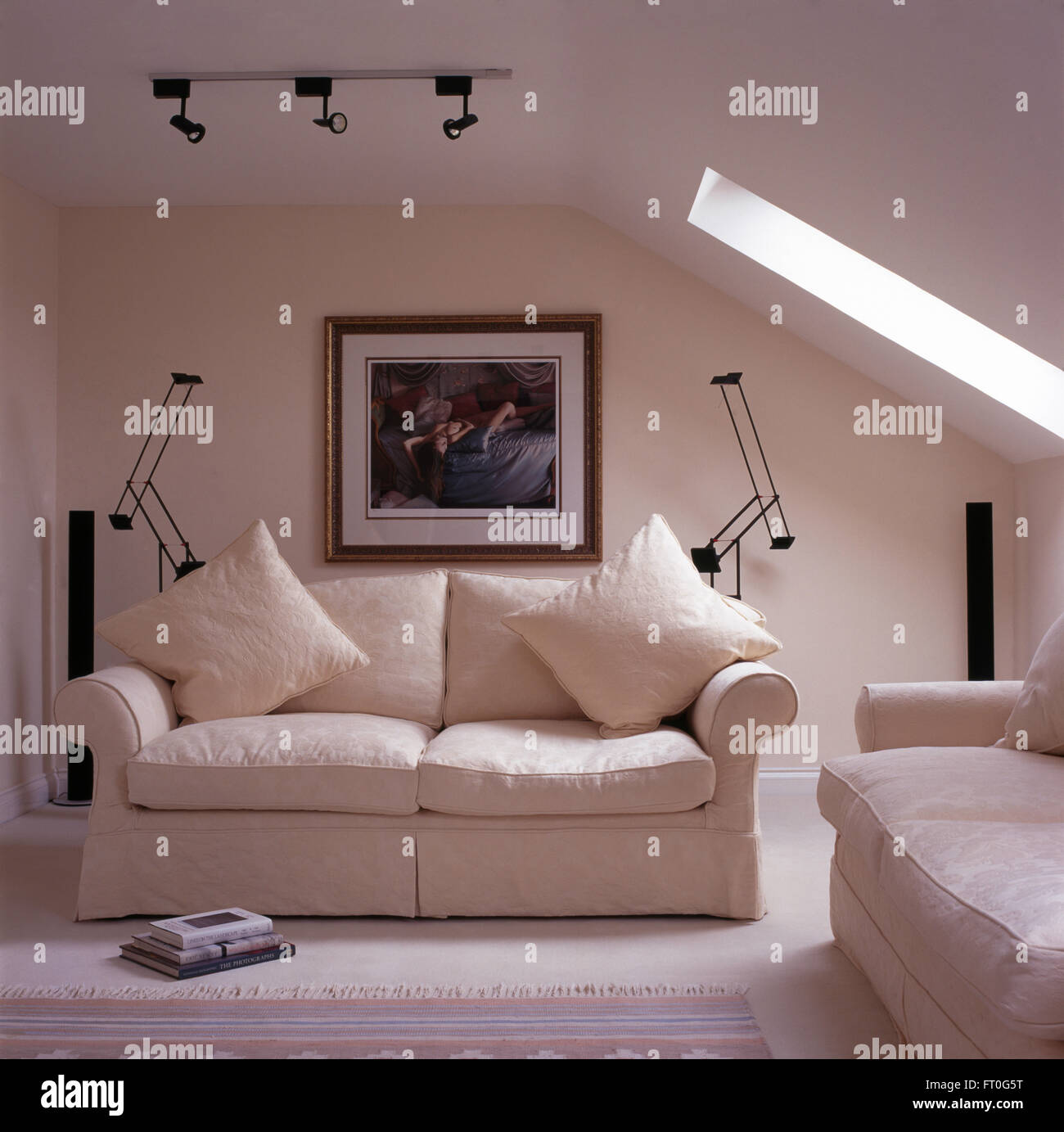 White Sofas In Loft Conversion Living Room With A White Carpet And  ~ Wall Bed Sofa Conversions