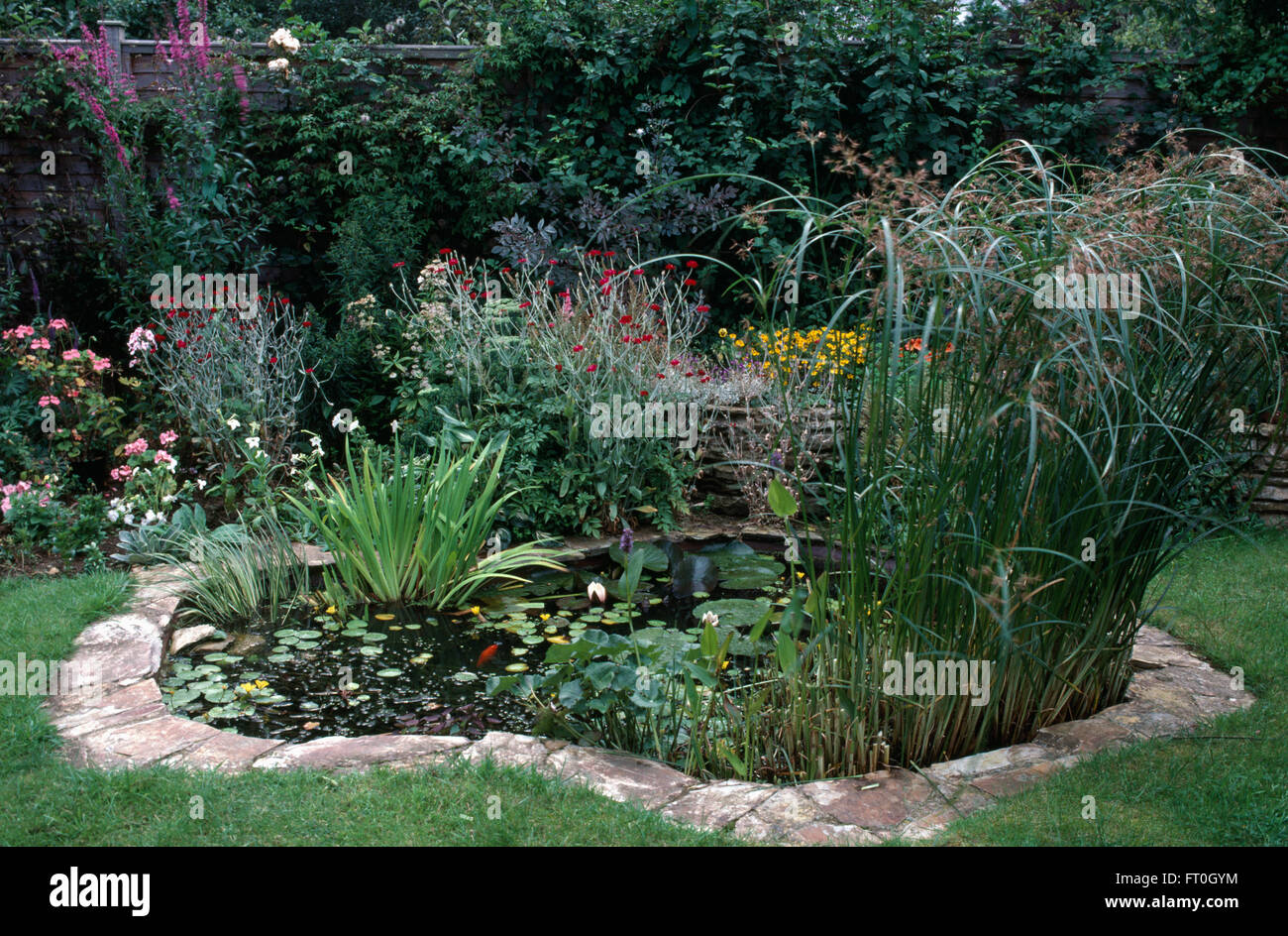 Stone paved edging around a curved pond in a town garden for Garden pond edging