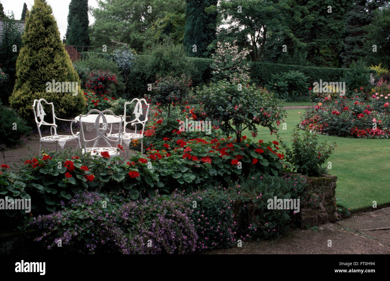 White Wrought Iron Table And Chairs Part - 41: Stock Photo - White Wrought Iron Table And Chairs On Patio With A Border Of  Red Geraniums And Fuchsia In A Well Tended Garden