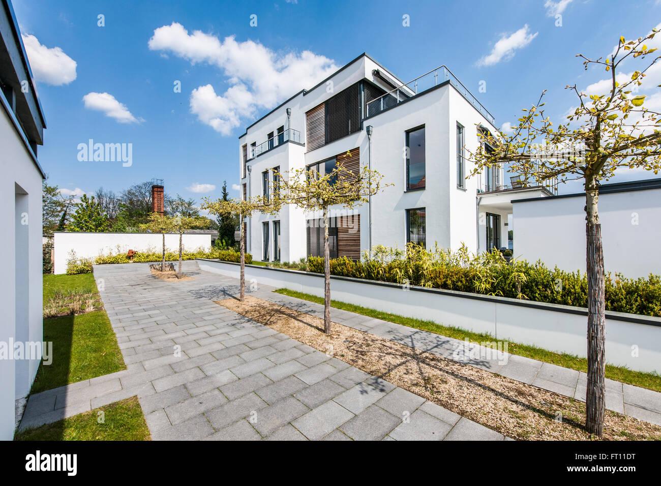 Modern Architecture Era villa in a modern architecture style, brandenburg, germany stock