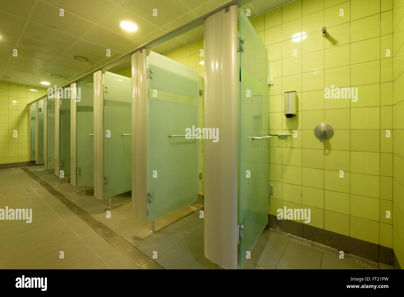 Shower cabins at the gym stock photo royalty free image