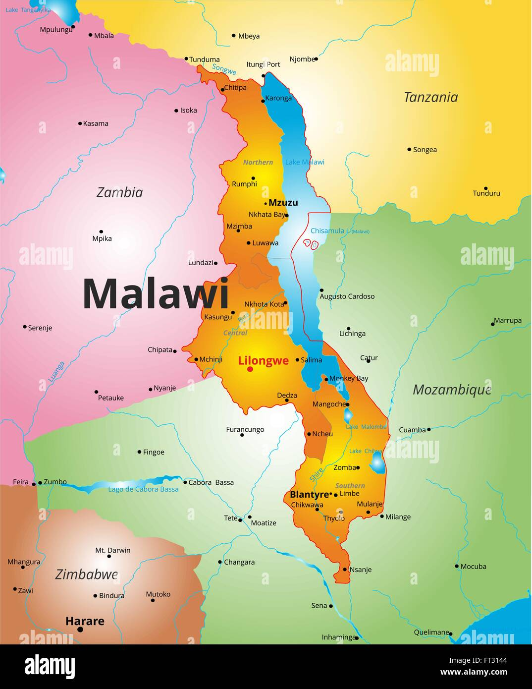 Color Map Of Malawi Country Stock Vector Art Illustration - Malawi map