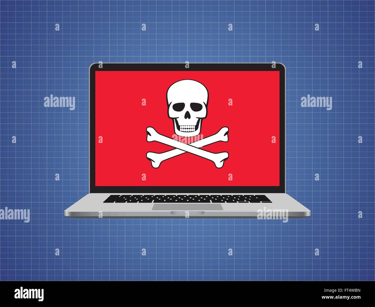 Computer hacked with skull symbol and danger alert stock vector computer hacked with skull symbol and danger alert buycottarizona Images