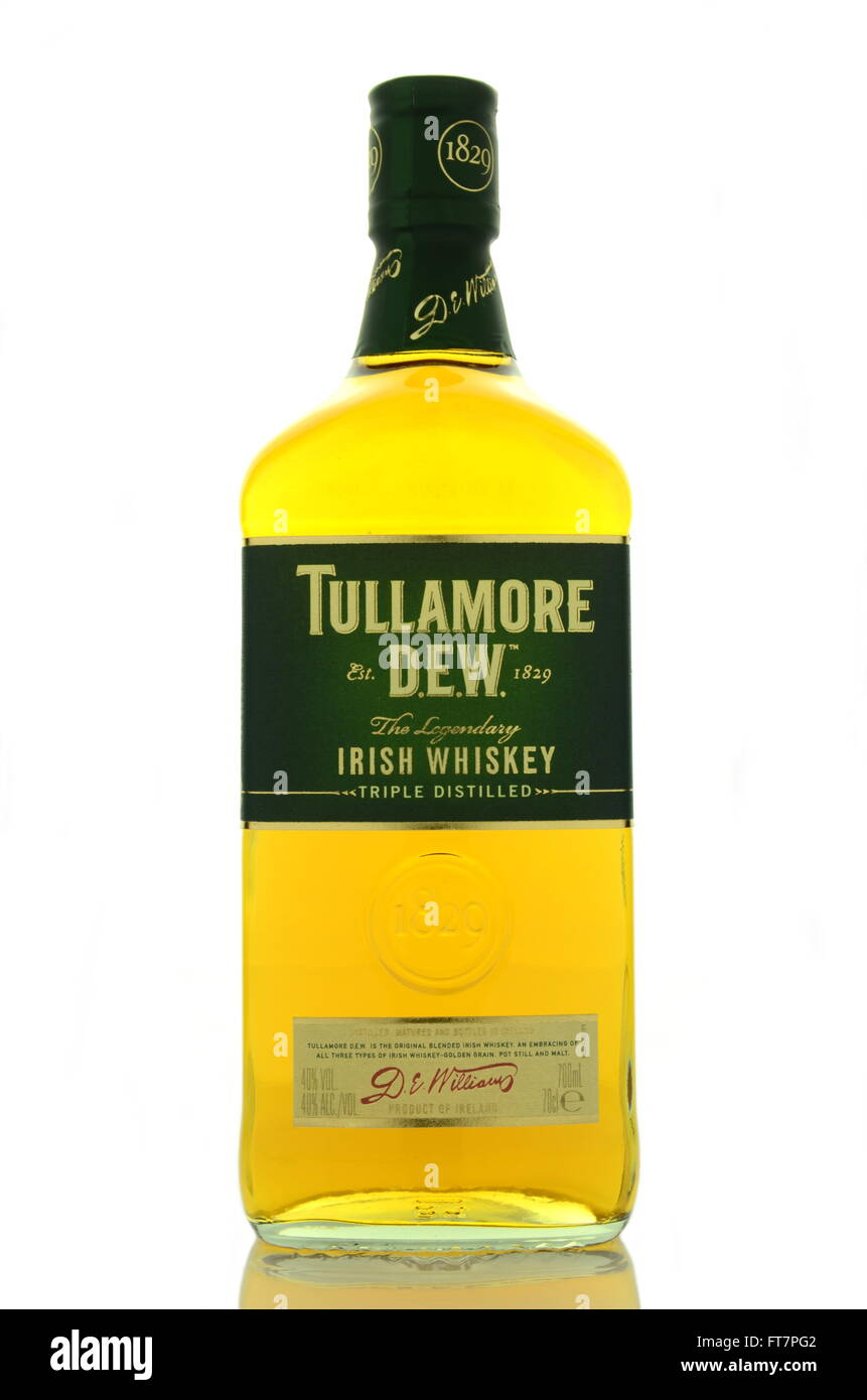 Tullamore Dew Whiskey Isolated On White Background Stock